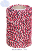 Red, White & Black - 50m Roll of BAKERS Twine - 100% Cotton - .