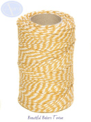 Gold & White - 50m Roll of BAKERS Twine - 100% Cotton - .
