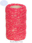 Red Sparkle - 50m Roll of BAKERS Twine - 100% Cotton - .