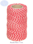 Red & White - 50m Roll of BAKERS Twine - 100% Cotton - .