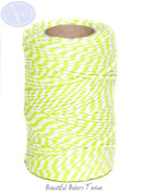 Spring Green & White - 50m Roll of BAKERS Twine - 100% Cotton - .