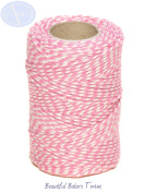 Rose Pink & White - 50m Roll of BAKERS Twine - 100% Cotton - .