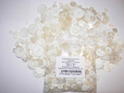 KosiKrafts 1 Bag Of 100g Art & Craft WHITE Sewing BUTTONS. Various Sizes