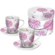 2 Espresso Cups decorated in a Watercolour Dandelion Porcelain in a Gift Boxed