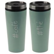 Impact Paris 27837 Stainless Steel Thermos Travel Mug Coffee Tea Glasses 7.5 x 7.5 x 18 cm Almond Green