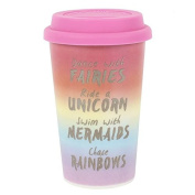Rainbow Metallic Thermal Travel Mug, Ceramic, Insulated Rubber Lid, H:13.50cm x W:8.70cm x D:11.30cm FREE POSTAGE