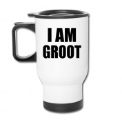 MZONE Custom Travel Mug I Am Groot Handled Auto Mug White