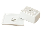 BOLTZE Butter Dish White/Grey with Flowers 14X13X6 cm Porcelain Country House Design
