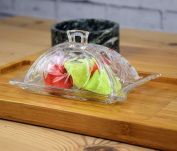 Quality Glass Transparent Butter Dish With Lid and Handle Pattern Base LEO