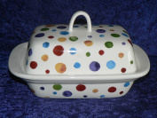 Spots butter dish - Hand sponged style spots on white porcelain butter dish decorated on lid and sides