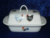 Chicken butter dish - A variety of chickens cockerels hens roosters on white porcelain butter dish decorated on lid and sides