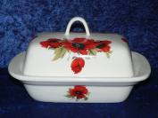 Poppy butter dish - Colourful poppies on white porcelain butter dish decorated on lid and sides