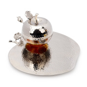 Classic Touch JHT342 Rosh Hashanah Honey Dish with Spoon, 23cm , Silver