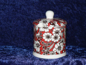 Bone China jam or preserve jar decorated in Valencia Red design