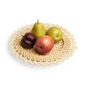 Black Velvet Studio Shallow dish Marsella Natural colour The fabric forms a pattern of ethnic inspiration Rattan 2 x 30 x 30 cm