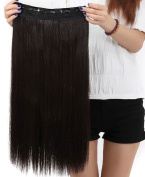 60cm Dark brown One Piece Half Full Head Clip in Hair Extensions Long Straight 5 Clips Hairpieces For Women