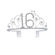Frcolor Happy Birthday 16th Silver Crystal Tiara Crown