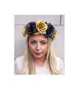 Starcrossed Boutique Large Black Gold Rose Flower Garland Headband Hair Crown Sugar Skull Big 4226