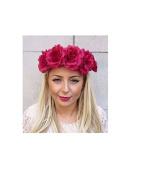 Large Wine Deep Red Rose Flower Garland Headband Hair Crown Sugar Skull 4221