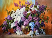 Lilac Diamond Painting 5D DIY Plant Full Drill Craft Blooming Flowers Resin Rhineston Paste Cross Stitch Diamond Mosaic Stickers Canvas For Office Wall Decoration , 60*45 cm