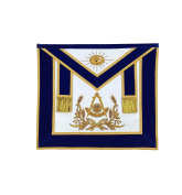 Masonic Past Master Hand Embroided Apron Gold/Silver Embroidery Blue Velvet