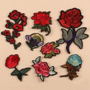 IGEMY 8PC Rose And Flower Floral Collar Sew Patch Applique Badge Embroidered