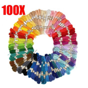 ECYC 100Pcs Random Colour Cross Stitch Embroidery Threads Embroidery Floss Threads