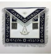 Masonic Blue Lodge Past Master Silver Handmade Embroidery Lambskin Apron / Velvet