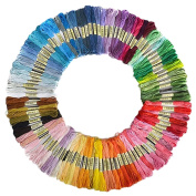Bluelans® Embroidery Threads Floss Kit, 100% Cotton, 100 x Assorted Coloured Skeins