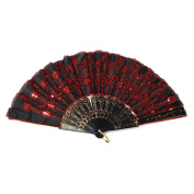 tfrdertuuigf Red Exotic Embroidery Sequinned Folding Hand Fan Wedding Dance Gift