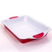 Deep Non-Stick Large 33cm Roasting Tray - Silicone Grip Handle Baking Tin/Pan