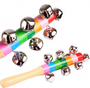 WDOIT 1Pcs Baby Hand Bells Woody Rainbow Suspension Bells Children Wooden Toys