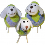 Da Jia Inc Handicrafts Sheep with Baby Lamb Wool Felt Sheep Family Toys Decorative Ornaments Plush Doll Desktop Ground