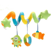 Decdeal Baby Crib Educational Plush Animal Toy Revolve Playing Crib Bedding Hanging Rattle Beneficial Toy