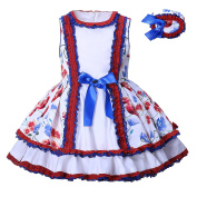 Lajinirr Girls Retro Bownot Floral Delicate Lace Summer Dresses With Headband