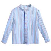 Lajinirr Boys Casual Cotton Blue Stripes Long Sleeve Mandarin Collar Shirts