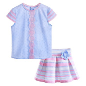 Lajinirr Girls Summer Clothing Sets Blue Tops and Pink Striped Skirt Suits