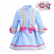 Lajinirr Girls Blue Princess Dress Sweety Lace Dresses With Headbands