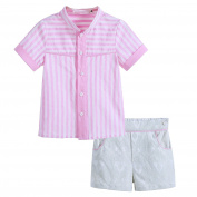 Lajinirr Baby Boys Summer Gentleman Clothing Sets Pink Stripe T Shirts+Jacquard Short