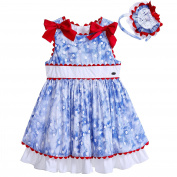 Lajinirr Little Girls Polka Dot Sleeveless Cotton Blue Dresses With Headband