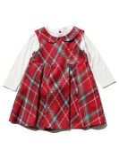 M & Co Baby Girl Red Tartan Fit & Flare Peter Pan Collar Pleated Dress & White Long Sleeve Top Set