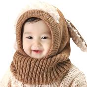 Serda Winter Baby Children Hat Scarf Boys Girls Earflap Dog Warm Scarves Skull Cap,Coffee