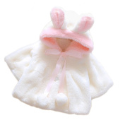 Vococal Cute Fluffy Thick Faux Fur Baby Infant Girl Winter Warm Hooded Cape Cloak Hoodie Coat Jacket Size 80 For 0-1 Year Old White