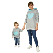 Anglewolf_Sweatshirt Mommy And Baby Kid Family Matching Outfit, Heart-Shaped Fashion Casual Stylish Long Sleeve Hooded Sweathirt Pullover Tops Hoodies
