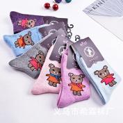 Winter woollen socks_girl, and wool socks warm lovely sweet cartoon bear, the colours that are code