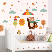Zooarts Bear Owls Happy Harvest Day Mural Wall Sticker Decals Kids Room Decor