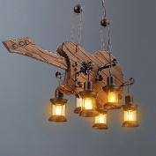 Retro coffee restaurant creative personality bedroom wood musical instrument chandelier