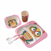 Children Cutlery Tray Divider Cartoon Bamboo Fibre Complementary Food Bowl Newborn Baby Baby Eating Bowl Fork Spoons Set,D