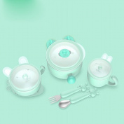 Children 'S Cutlery Set Insulation Bowl Baby Food Bowl Stainless Steel Water Drop Drop Sucker Bowl Baby Spoon,Green
