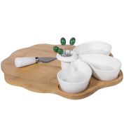 CREATIONS Meng – Set table wooden cheese and Ceramics White